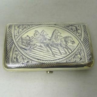 Antique Russian Silver Troika Box