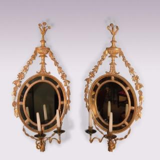 Pair of late 18th Century Adam period giltwood Girandoles