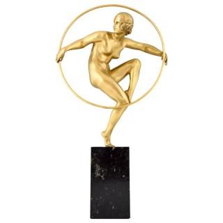 Art Deco gilt bronze nude hoop dancer.
