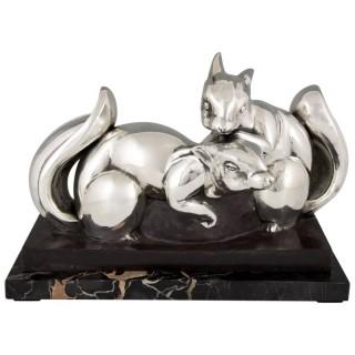 Art Deco silvered bronze squirrel sculpture, France 1930