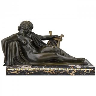 Art Deco bronze sculpture nude with lyre.