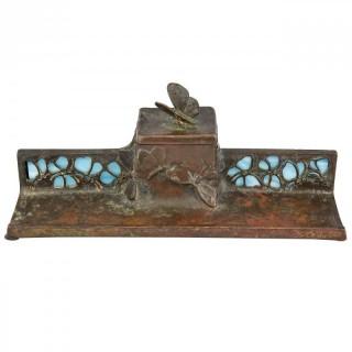 Art Nouveau bronze ink stand with butterflies.