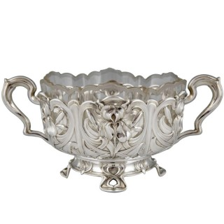 Art Nouveau silver flower dish