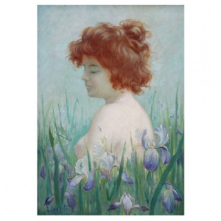 Art Nouveau painting with nude and iris.