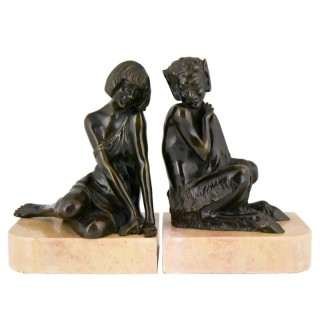 Art Deco bronze bookends satyr and lady