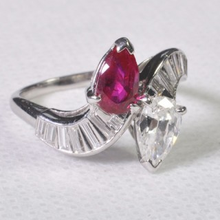 CARTIER RUBY AND DIAMOND CROSSOVER RING