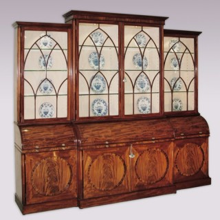 George III period mahogany Breakfront Bookcase with cylinder secretaires