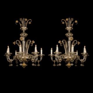 Pair of Venetian Glass Chandeliers