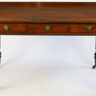 William 1V Mahogany 3 Drawer Side Table in the Manner of Gillows
