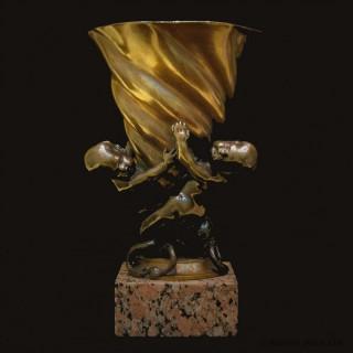 Bronze Putti and Cornucopia Vase