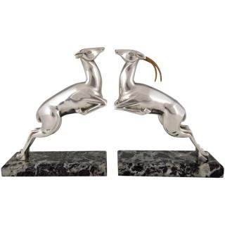 Art Deco leaping deer bronze bookends.
