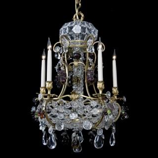 Unusual Cut-Glass Five-Light Chandelier