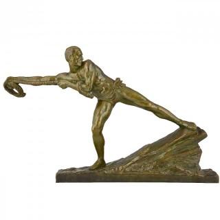 Art deco bronze sculpture of an athlete.