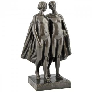 Art Deco bronze of 2 nudes