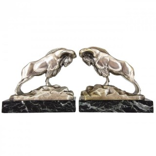 Art Deco bronze Ibex or Ram bookends