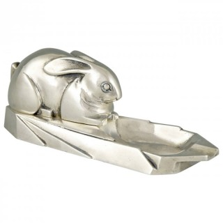 Art Deco bronze ashtray with rabbit