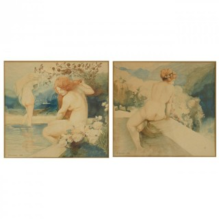 A pair of Art Nouveau watercolor paintings with nudes