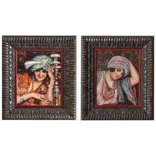 A pair of Orientalist paintings of harem ladies.