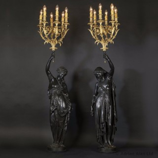 Pair of Bronze Figural Torchères