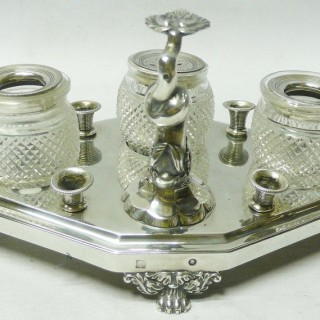 Antique Dutch Silver Inkstand