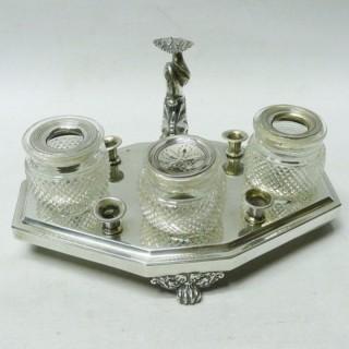 Antique Dutch Silver Inkstand