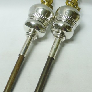 Pair of Antique Ceremonial Maces in Old Sheffield Plate