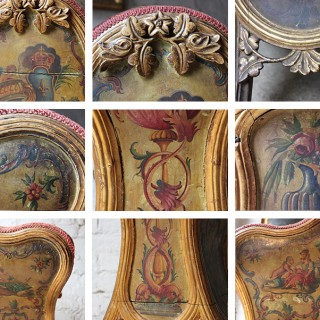 A Stunning Early 19thC Venetian Polychrome & Parcel Gilt Decorated Gondola Chair c.1810