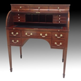 Edwardian Antique Mahogany & Inlaid Cylinder Bureau