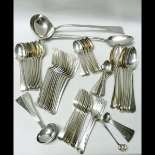 Antique Silver Canteen of Cutlery for 12