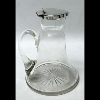 Antique Silver and Crystal Whiskey Noggin or Water Jug