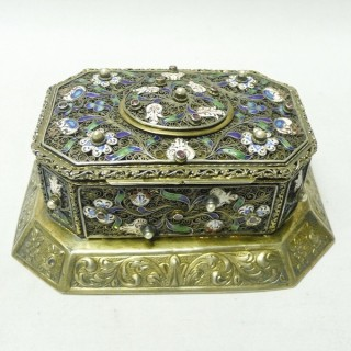Antique Silver Gilt Casket with Enamel and Pearls