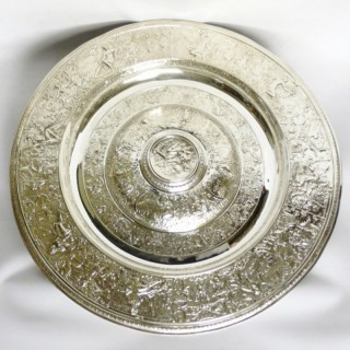Large Antique Silver Plated Charger by Elkington