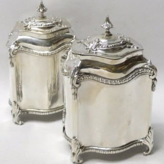 Pair of Antique George III Silver Tea Caddies
