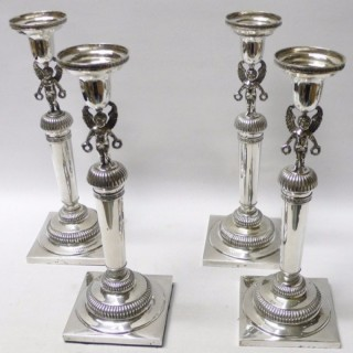 Set of 4 Antique Augsburg Silver Candlesticks