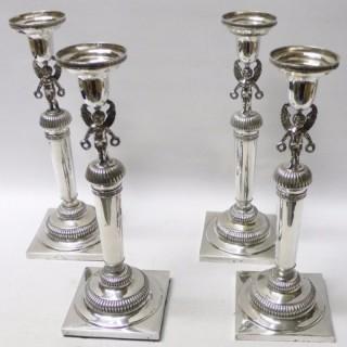 Set of 4 Antique Augsburg Silver Candlesticks