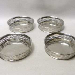 Set of 4 Antique Italian Silver Wine Coasters