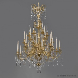 Louis XVI Style Cut-Glass Thirty-Light Chandelier