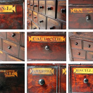 A Large & Fabulous 19thC Bank of 39 Flame Mahogany Apothecary Drawers c.1860-70