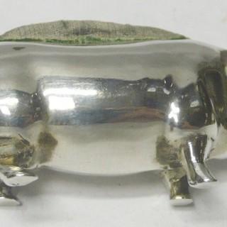 Antique Silver Pig Pin Cushion