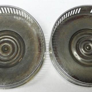 Pair of Georgian Silver Wine Coasters by Hester Bateman