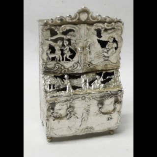 Antique Dutch Miniature Silver Bureau Bookcase