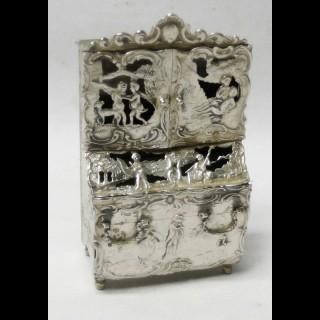 Antique Dutch Miniature Silver Bureau Bookcase