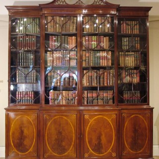 A Fine  Antique Breakfront Library Bookcase in the Sheraton Manner