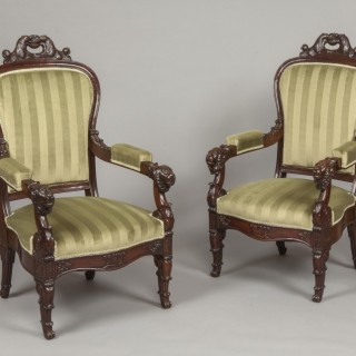 An Imposing Pair of Louis Philippe Fauteuils