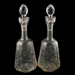 Pair of Edwardian Decanters