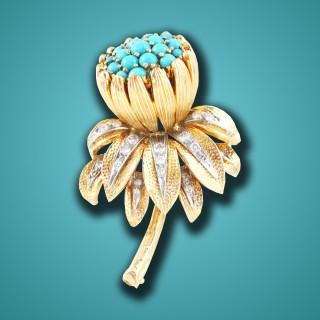 Kutchinsky Turquoise Diamond Flower Broach, ca. 1960s