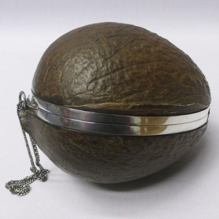Antique Silver Mounted Coconut Box