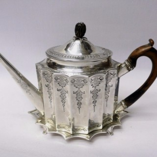 George III Silver Teapot on Stand