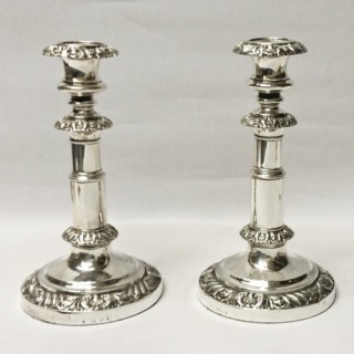 Georgian Extending Silver Candlesticks