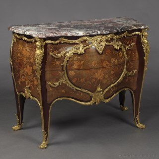 Louis XV Style Gilt-Bronze Mounted Marquetry Commode